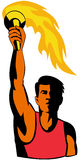 Athlete holding an olympic tor. Vector art of an Athlete holding an olympic torch stock illustration