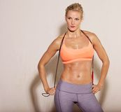 Athlete Holding a Skipping Rope Stock Photo