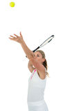 Athlete holding a tennis racquet ready to serve Royalty Free Stock Photo