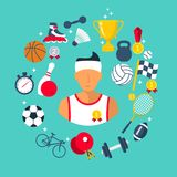Athlete icon sports items. Sports abstract background. Flat style. Vector illustration cartoon design. Isolated on white background. Football basketball stock illustration