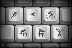 Athlete Icons on Computer Keyboard Buttons Stock Photography