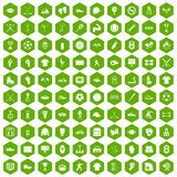 100 athlete icons hexagon green. 100 athlete icons set in green hexagon isolated vector illustration Stock Photo