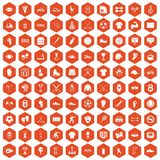 100 athlete icons hexagon orange. 100 athlete icons set in orange hexagon isolated vector illustration Stock Images