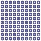 100 athlete icons hexagon purple Royalty Free Stock Image
