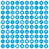 100 athlete icons set blue. 100 athlete icons set in blue hexagon isolated vector illustration Royalty Free Stock Photos