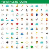 100 athlete icons set, cartoon style. 100 athlete icons set in cartoon style for any design illustration stock illustration