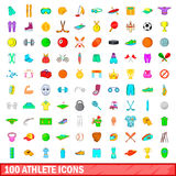 100 athlete icons set, cartoon style Stock Image