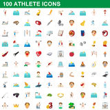 100 athlete icons set, cartoon style. 100 athlete icons set in cartoon style for any design vector illustration stock illustration