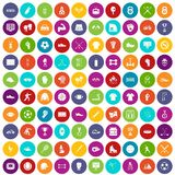 100 athlete icons set color. 100 athlete icons set in different colors circle isolated vector illustration vector illustration