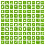 100 athlete icons set grunge green. 100 athlete icons set in grunge style green color isolated on white background vector illustration Stock Photo