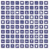 100 athlete icons set grunge sapphire. 100 athlete icons set in grunge style sapphire color isolated on white background vector illustration royalty free illustration