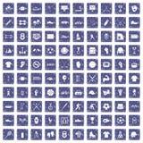 100 athlete icons set grunge sapphire Stock Photography