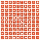 100 athlete icons set grunge orange. 100 athlete icons set in grunge style orange color isolated on white background vector illustration Royalty Free Stock Photo