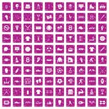100 athlete icons set grunge pink. 100 athlete icons set in grunge style pink color isolated on white background vector illustration Stock Photos