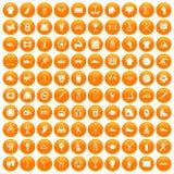 100 athlete icons set orange. 100 athlete icons set in orange circle isolated on white vector illustration Stock Photo