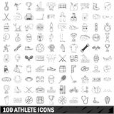 100 athlete icons set, outline style. 100 athlete icons set in outline style for any design vector illustration Royalty Free Stock Images