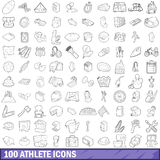100 athlete icons set, outline style Stock Images