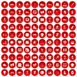 100 athlete icons set red. 100 athlete icons set in red circle isolated on white vector illustration Stock Photos