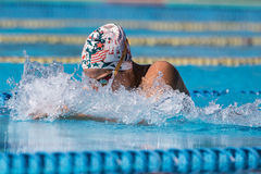 Athlete an Italian swimming contest called `Piskeo Trophy`. Athlete in a national swimming swimming national swimming contest named `Piskeo Trophy` Memorial stock image