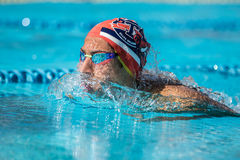 Athlete an Italian swimming contest called `Piskeo Trophy`. Athlete in a national swimming swimming national swimming contest named `Piskeo Trophy` Memorial stock photos