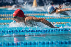 Athlete an Italian swimming contest called `Piskeo Trophy`. Athlete in a national swimming swimming national swimming contest named `Piskeo Trophy` Memorial royalty free stock photos