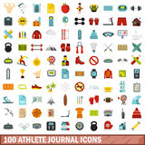 100 athlete journal icons set, flat style. 100 athlete journal icons set in flat style for any design vector illustration Royalty Free Illustration