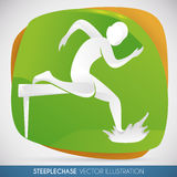 Athlete Jumping the Barrier in Steeplechase Racing, Vector Illustration Stock Photography