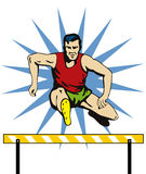 Athlete jumping hurdle Stock Images