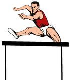 Athlete jumping the hurdle Stock Images