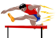 Athlete jumping the hurdle Stock Image