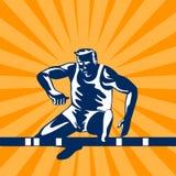 Athlete jumping hurdles. Vector art of a track and field athlete jumping hurdles vector illustration