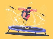 Athlete jumping on trampoline. Sports acrobatics training. Vector flat illustration vector illustration
