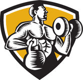 Athlete Lifting Kettlebell Dumbbell Crest Woodcut Royalty Free Stock Images