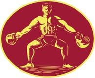 Athlete Lifting Kettlebell Oval Woodcut Royalty Free Stock Photo