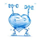 Athlete Lifting Weights. Set. Character Heart Stock Images