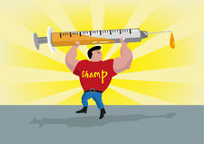 Athlete Lifts Up a Syringe. Doping Concept. Editable Clip Art. Royalty Free Stock Image