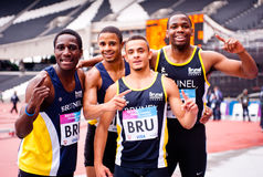 Athlete at London 2012 Olympic stadium. Brunel team at the London prepares series at the Olympic park in London on May 7, 2012. The London Prepares series is the Royalty Free Stock Image