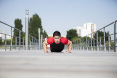Athlete making some pushup Royalty Free Stock Photography