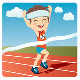 Athlete Man. Young athlete man winning Olympic games sprint race competition Stock Illustration
