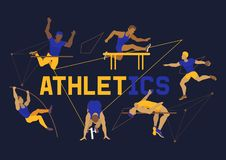 Athlete man banner, poster, brochure vector illustration. Exercising male in different poses. Man figures are training. In sport club. Running and jumping royalty free illustration