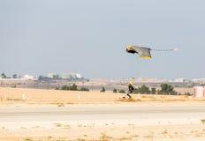 Athlete man parachutist a touchdown Stock Image