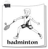Athlete man playing badminton Royalty Free Stock Photos