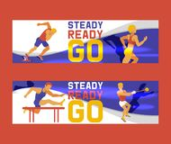Athlete man set of banners vector illustration. Gymnastics training. Exercising male in different poses. Man figures are. Training in sport club. Running royalty free illustration