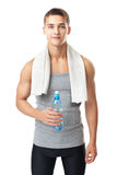 Athlete man with a water bottle Royalty Free Stock Photography