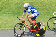 Athlete member of the Canadian's team race. BROMONT-AUGUST 29:Unknown athlete member of the Canadian's team race on 2010 National Canadian Track Championships on royalty free stock photos