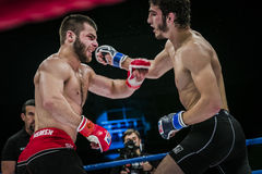 Athlete mixed martial arts fighter gets cross hand to his opponent Royalty Free Stock Photos