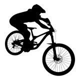 Athlete mtb downhill. Bike black silhouette vector illustration