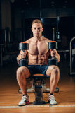 Athlete muscular bodybuilder training back with Stock Photo