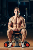 Athlete muscular bodybuilder training back with Stock Photos