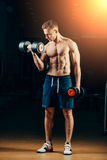Athlete muscular bodybuilder training back with Royalty Free Stock Image